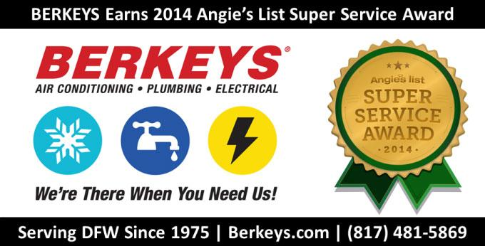 Berkeys-Air-Conditioning-Plumbing-Electrical-Earns-2014-Angies-List-Super-Service-Award-in-Dallas-Fort-Worth-Southlake