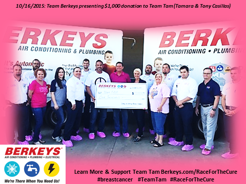 Team Berkeys presenting donation to Team Tam for Race for the Cure 1
