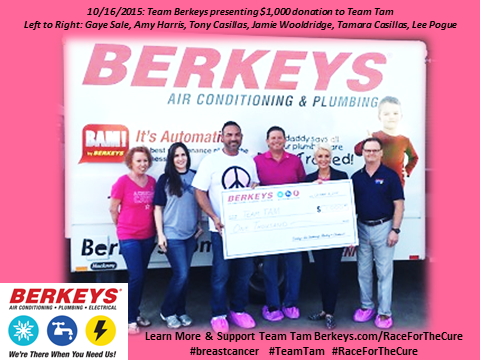 Team Berkeys presenting donation to Team Tam for Race for the Cure 2