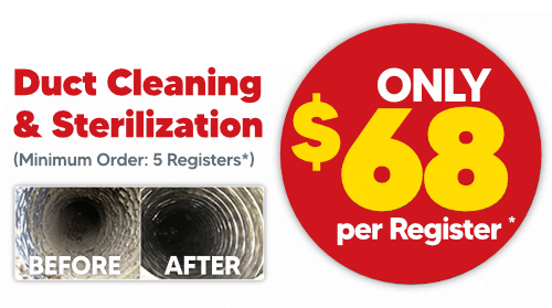 Duct Cleaning & Sterilization: $68 per Register
