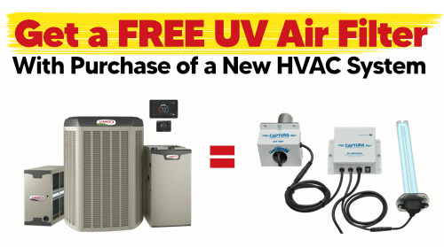 Get a FREE UV Air Filter with Purchase of a New HVAC System
